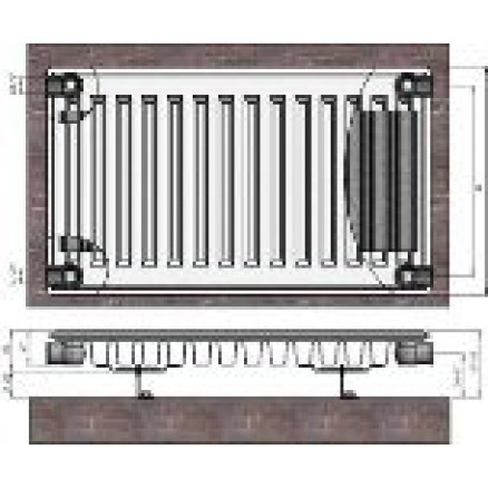 Radiators 11x400x1800 sānu piesl. Termolux