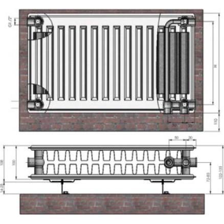 Radiators 22x300x900 Ventil Compact Termolux